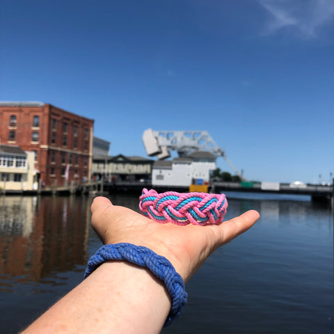 summer colors beach bracelet overlooking drawbridge in Mystic