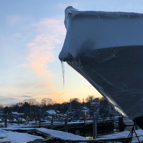 icicles on a boat in the wintery marina