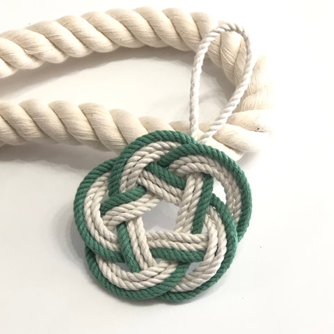 green and white ornament