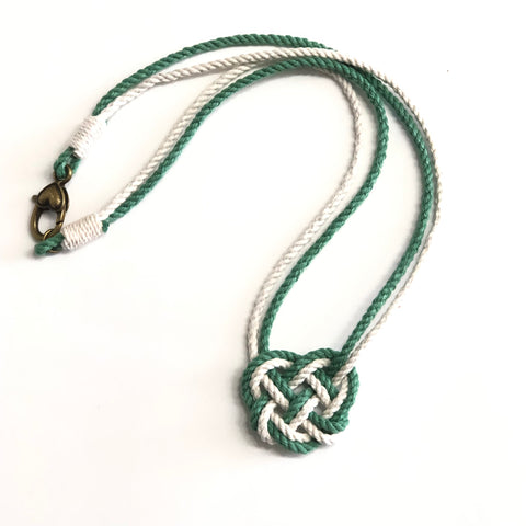 celtic heart knot necklace in Saint Patricks Day Green