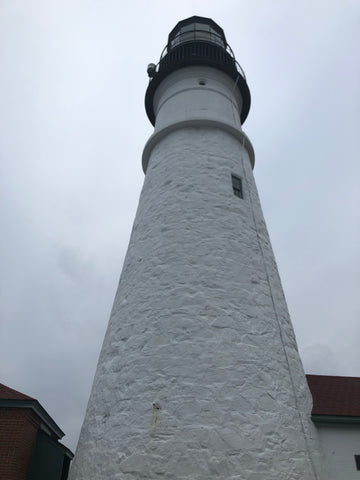 Portland Head Light on a gray and drizzly day