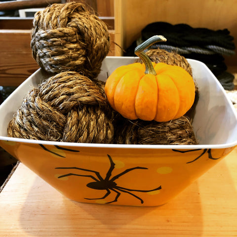 spider bowl with monkey fists and mini pumpkins