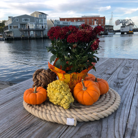 fall nautical centerpiece overlooking the drawbridge in Mystic