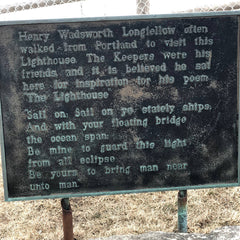 Portland Headlight visit plaque from Longfellow