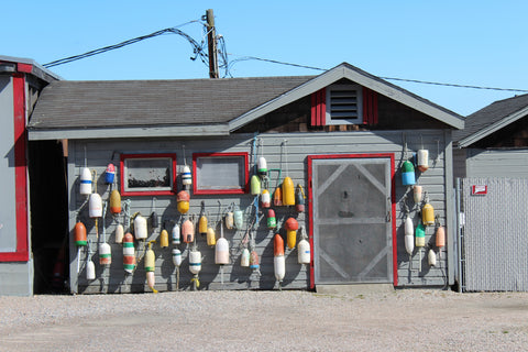 A wall of buoys at Abbotts Lobster in the Rough