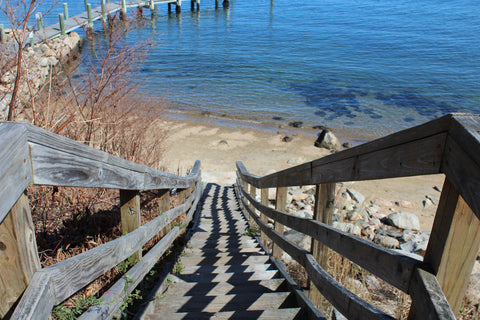 stairs to the beach in Noank CT