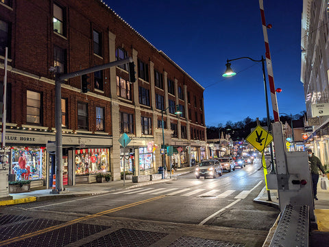 Downtown Mystic at night