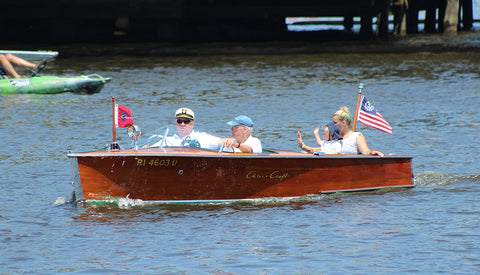 antique runabout Mystic boat parade