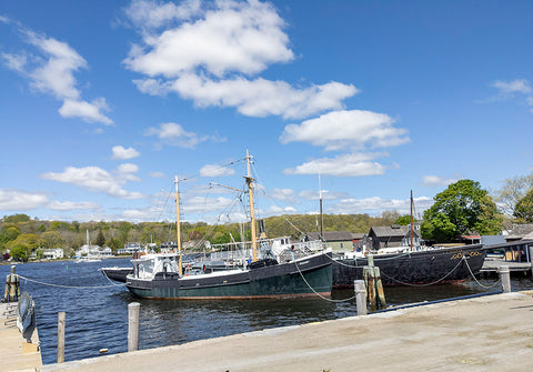 Old boats at the Mystic Seaport Docks