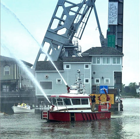 fire boat on the mystic river