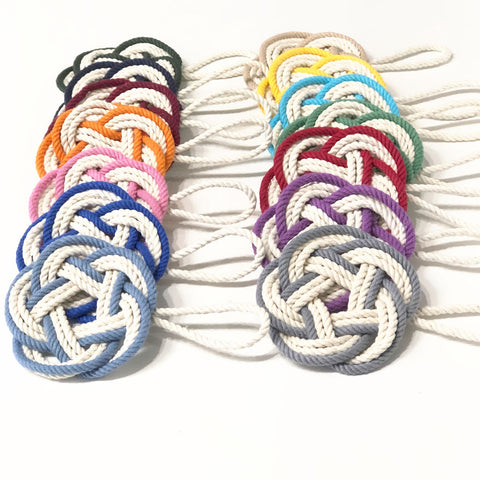 coaster wreath ornaments with a colored stripe