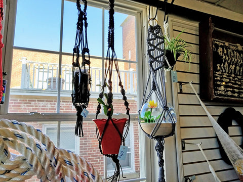 Macrame Plant hangers available at Mystic Knotwork downtown Mystic Connecticut made here