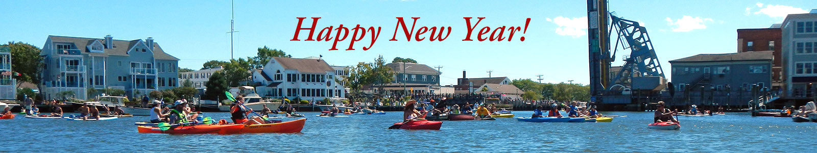 Downtown Mystic Connecticut New Year Image with Drawbridge
