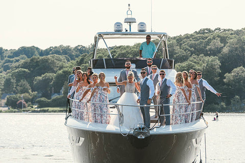 wedding party on boat in mystic