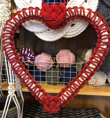 Finished macrame and turkshead Valentine wreath
