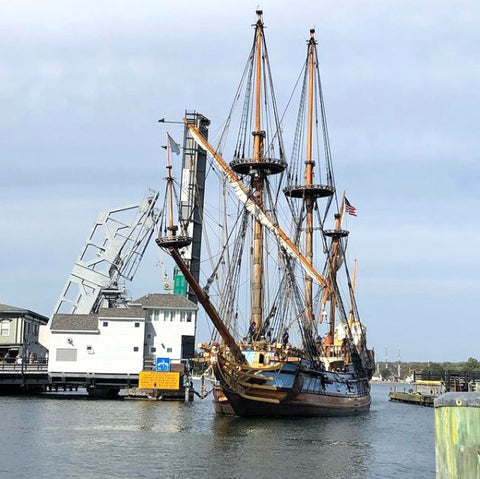 The Mayflower and the mystic river bridge
