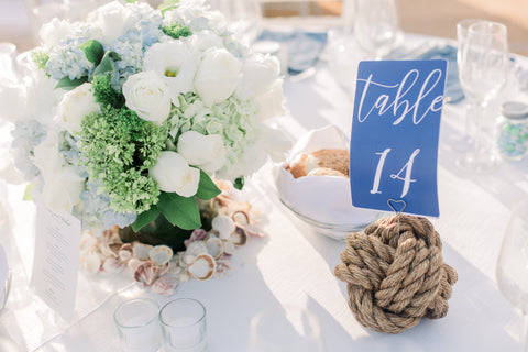 manila rope wedding knot table centerpiece