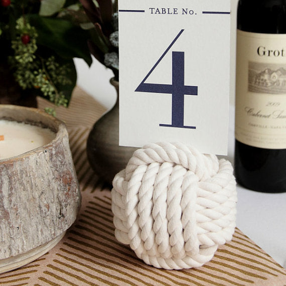 Nautical Wedding - Monkey Fist Knot Table Number