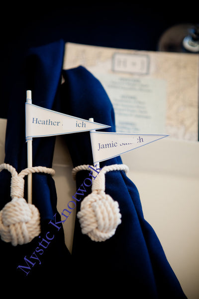 Nautical Flag Wedding Place Card Knots