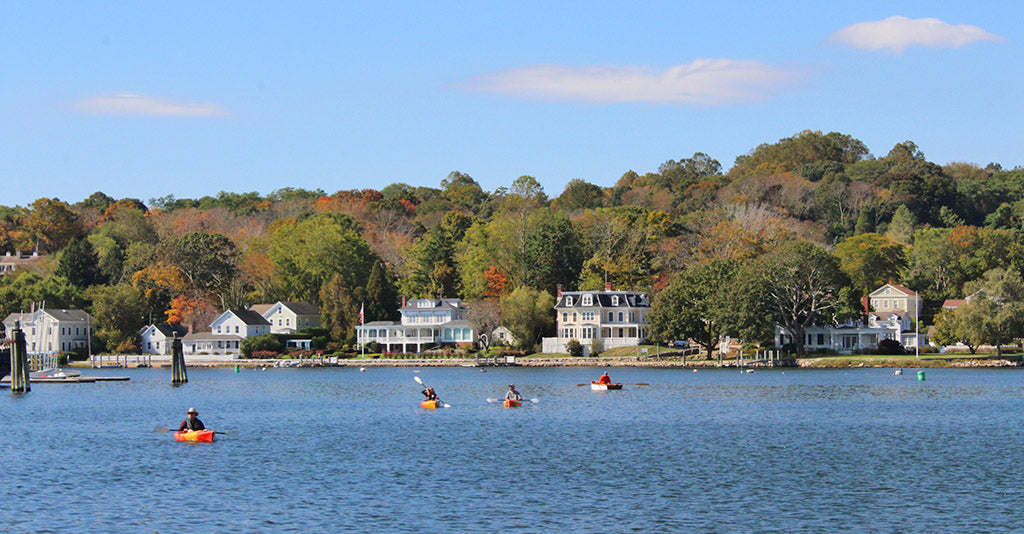 paddling the mystic river in fall