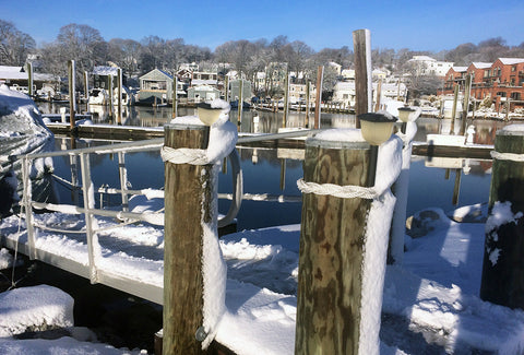 Pilings with turkshead knots at local dock in Mystic CT