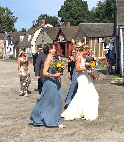 bridesmaids in Mystic and summer bouquets