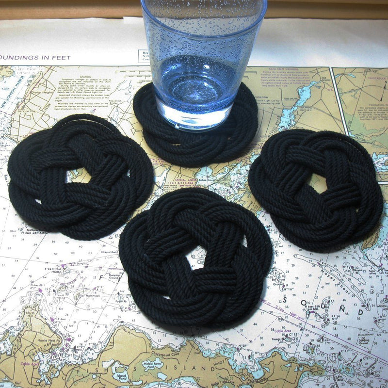 Nautical Knot Sailor Knot Coasters, Woven in Black , Set of 4 handmade at Mystic Knotwork