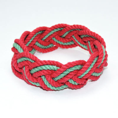 Nautical Knot Striped Sailor Knot Bracelet, Christmas Colors handmade at Mystic Knotwork