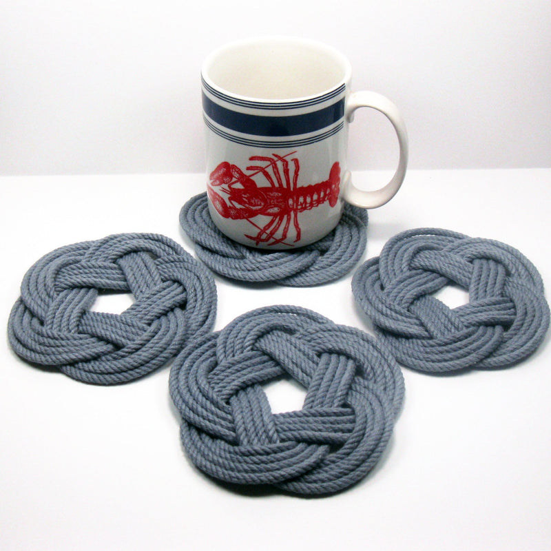 Nautical Knot Sailor Knot Coasters, Woven in Grey , Set of 4 handmade at Mystic Knotwork