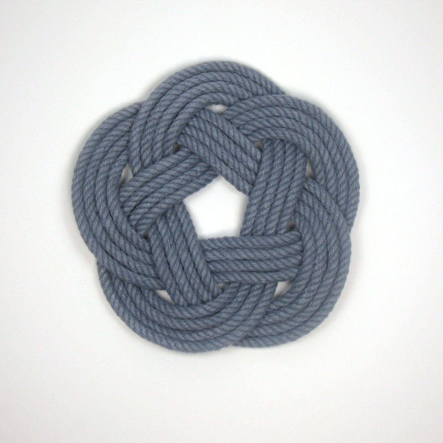 Nautical Sailor Knot Coasters, Woven in Grey , Set of 4 Handmade sailor knot American Made in Mystic, CT $ 20.00