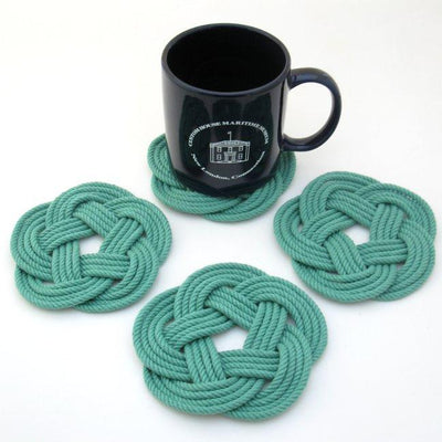 Sailor Knot Coasters, woven in Green Cotton , Set of 4 - Mystic Knotwork nautical knot