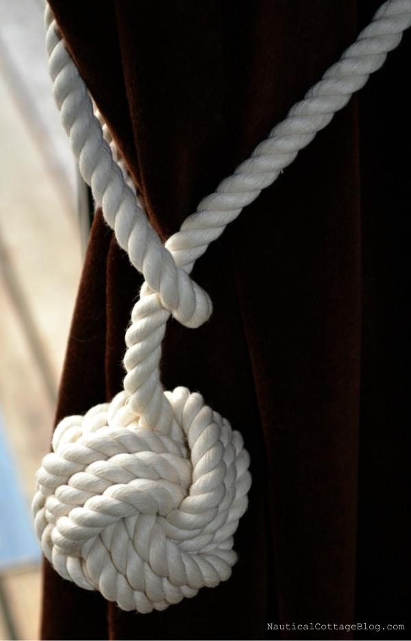 Nautical Monkey Fist Curtain Tie Back Handmade sailor knot American Made in Mystic, CT $ 12.50