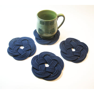 Nautical Sailor Knot Coasters, woven in Navy Blue , Set of 4 Handmade sailor knot American Made in Mystic, CT $ 20.00