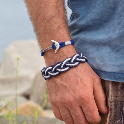 Nautical Knot Black and Blue Nautical Anchor Bracelet Stainless Steel 098 handmade at Mystic Knotwork