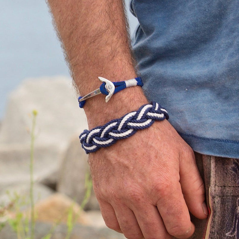 Nautical Navy Blue Nautical Anchor Bracelet Stainless Steel 20 Handmade sailor knot American Made in Mystic, CT $ 25.00