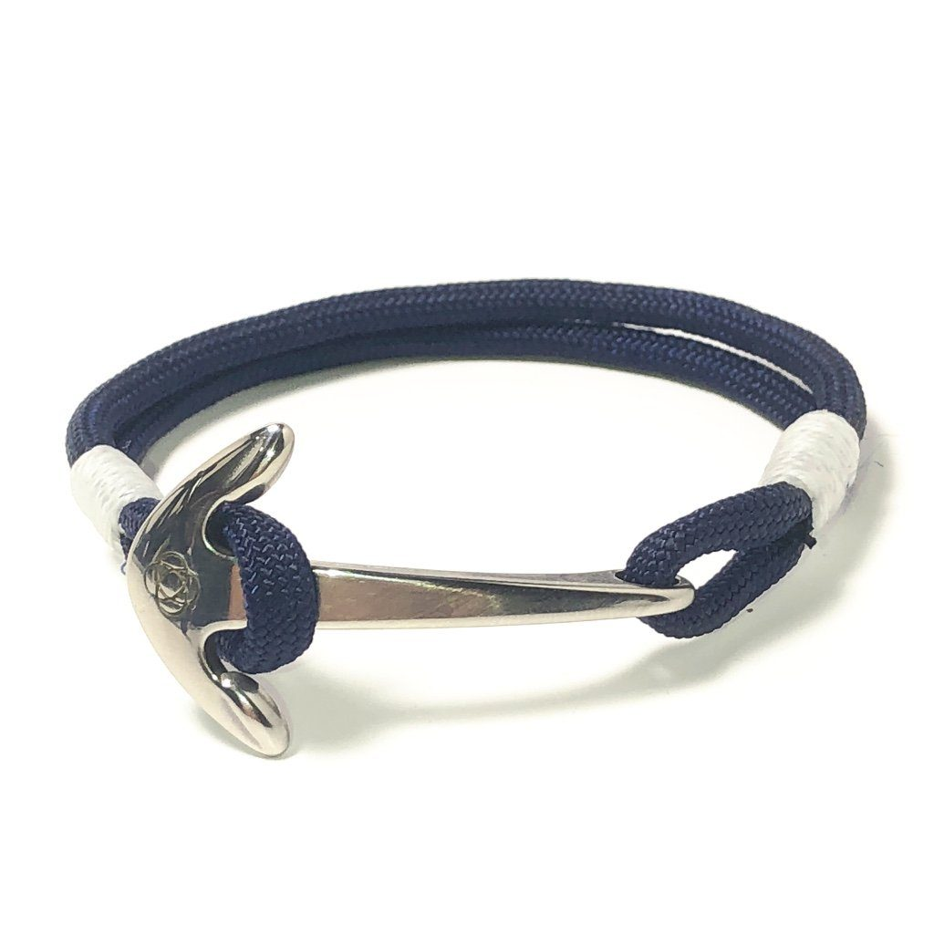 Nautical Knot Navy Blue Nautical Anchor Bracelet Stainless Steel 20 handmade at Mystic Knotwork