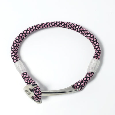 Nautical Knot Pink Diamond Nautical Anchor Bracelet Stainless Steel 326 handmade at Mystic Knotwork
