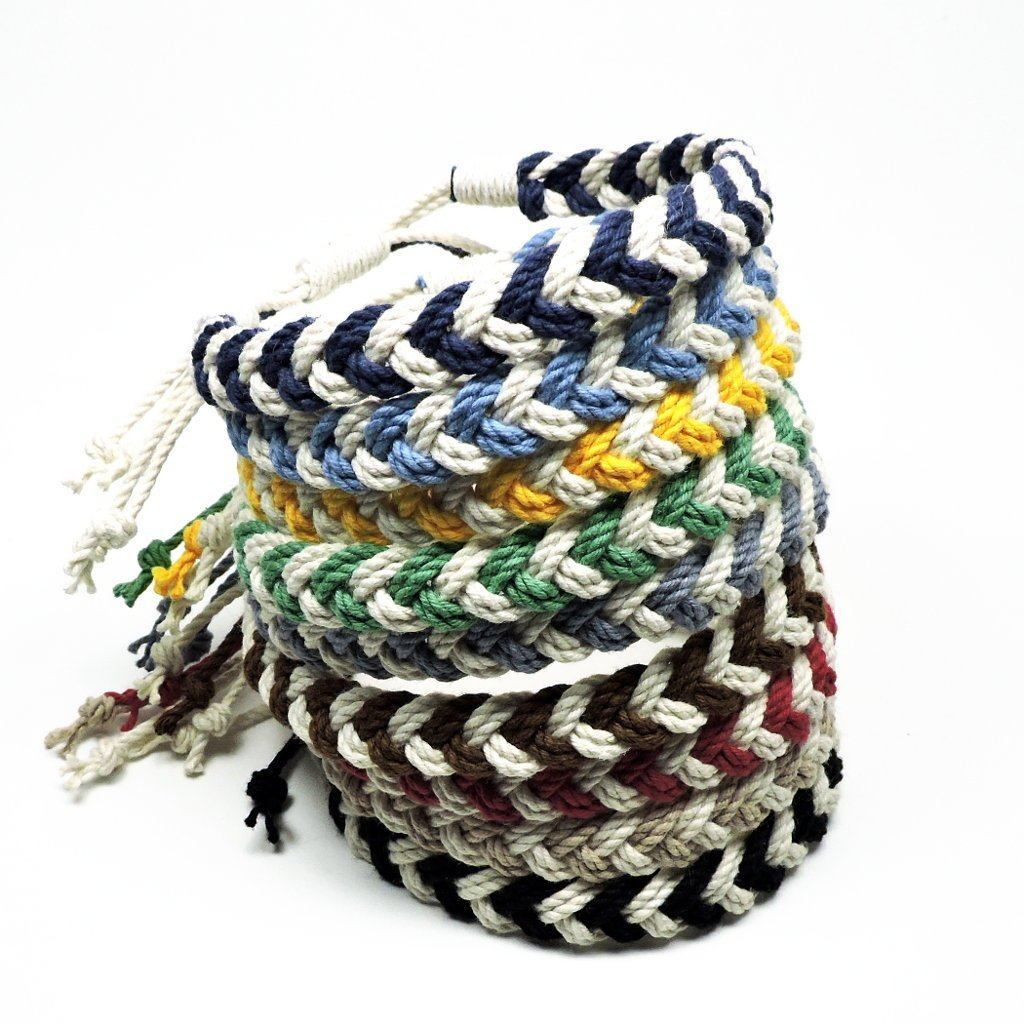 Nautical Knot Adjustable Woven Chevron Bracelet, choose from 17 colors handmade at Mystic Knotwork
