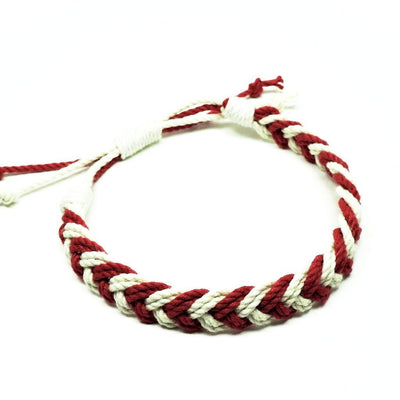 Nautical Knot Adjustable Woven Chevron Anklet, choose from 17 colors handmade at Mystic Knotwork