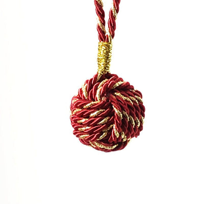 Burgundy Nautical Christmas Ball Ornament Metallic Monkey Fist