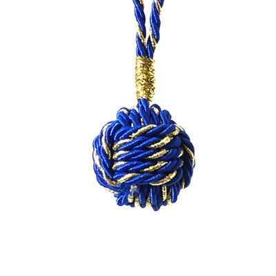 Royal Blue Nautical Christmas Ball Ornament Metallic Monkey Fist