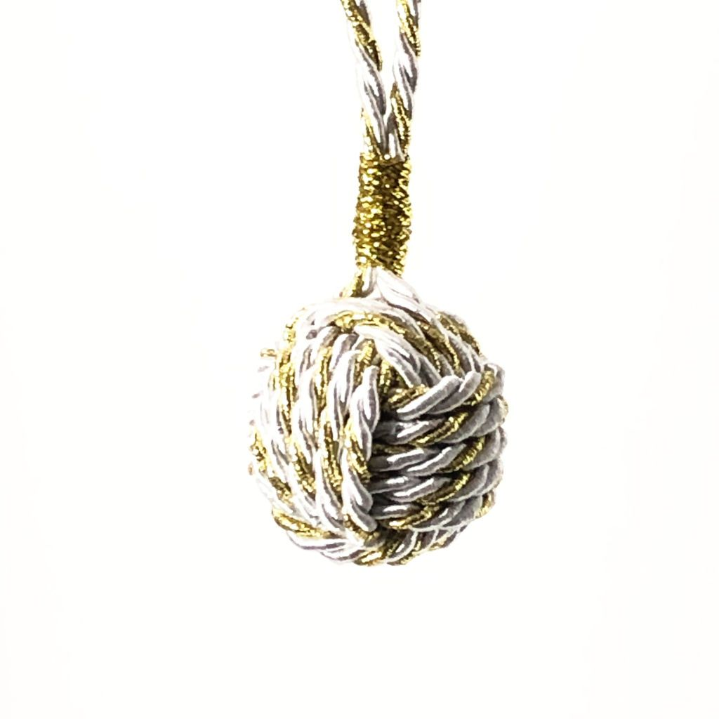 Gold and White Nautical Christmas Ball Ornament Metallic Monkey Fist