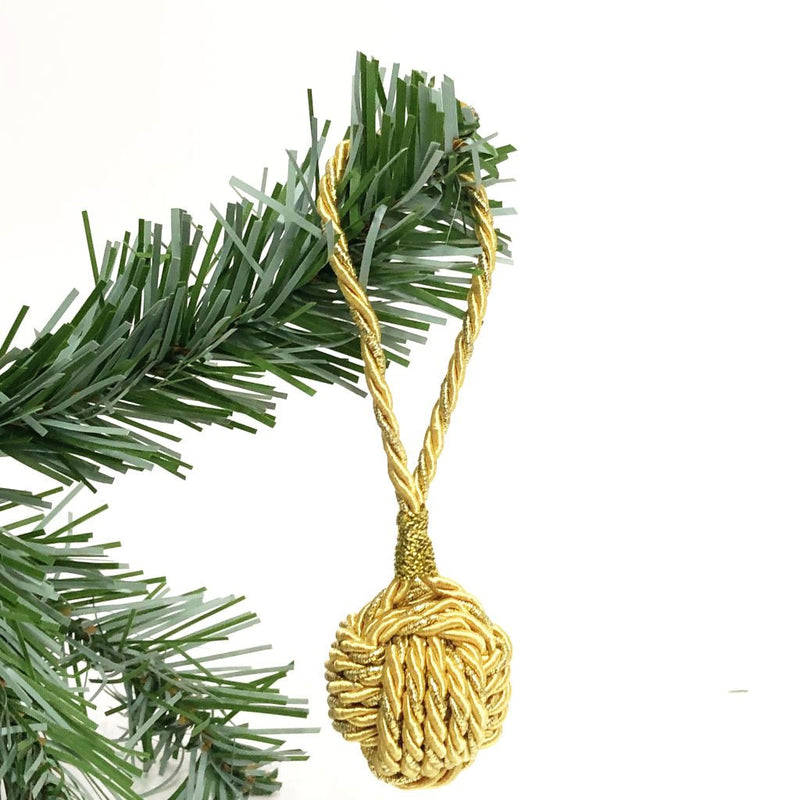 Gold Nautical Christmas Ball Ornament Metallic Monkey Fist