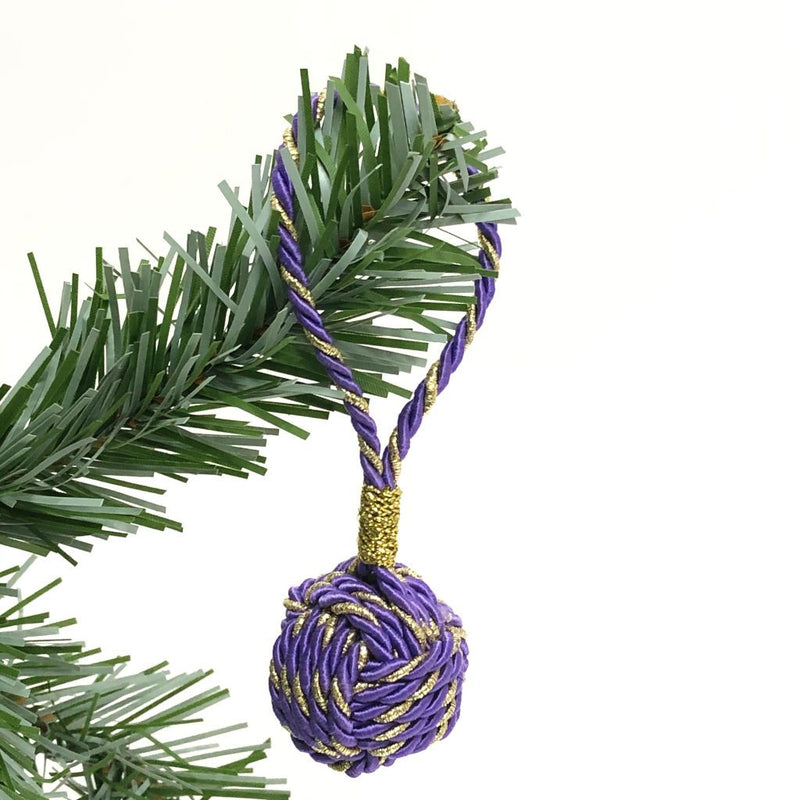 Purple and Gold Nautical Christmas Ball Ornament Metallic Monkey Fist
