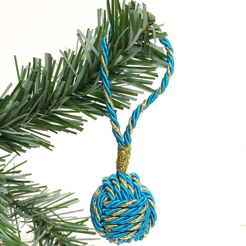 Turquoise and Gold Nautical Christmas Ball Ornament Metallic Monkey Fist