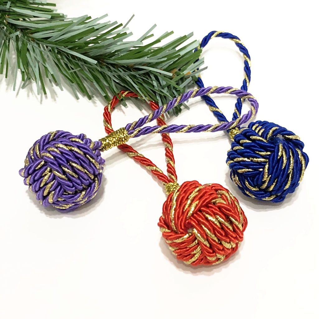 Nautical Nautical Christmas Ball Ornament Metallic Monkey Fist Handmade sailor knot American Made in Mystic, CT $ 10.00