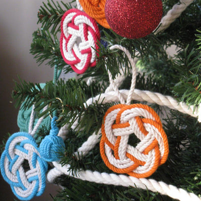 Nautical Knot Sailor Knot Christmas Ornament, Striped Turkshead Knot handmade at Mystic Knotwork