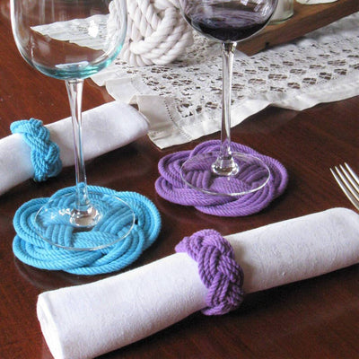 Bulk Pricing Sailor Knot Coasters, Set of 4 in 17 Colors