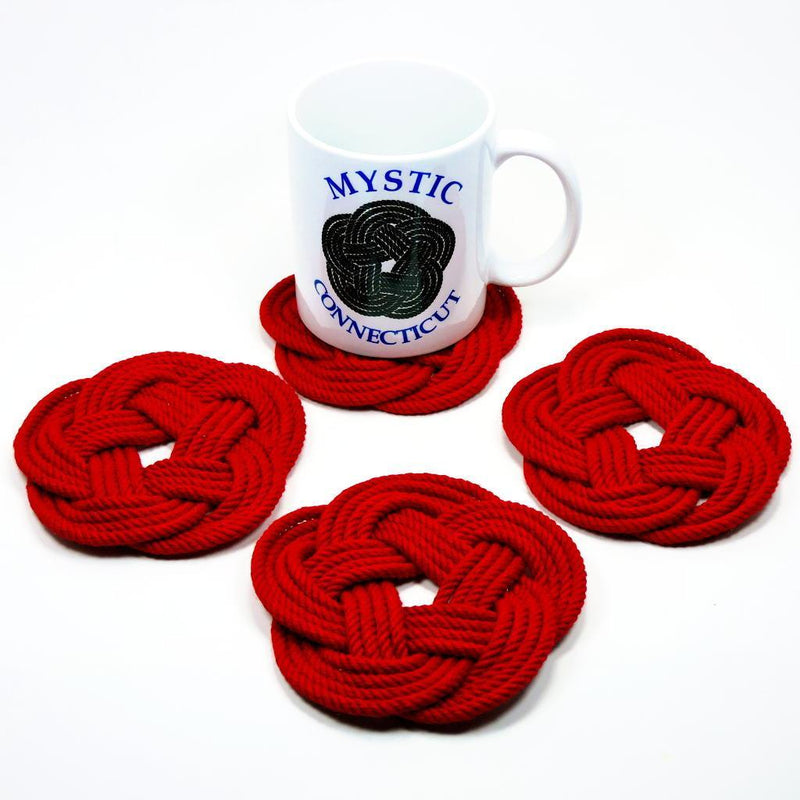 Nautical Knot Sailor Knot Coasters, Set of 4 in 17 Colors handmade at Mystic Knotwork