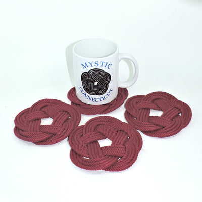 Sailor Knot Coasters, woven in Burgundy , Set of 4 - Mystic Knotwork nautical knot